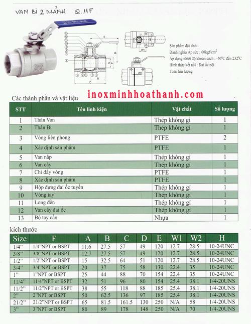Catalogue van bi inox 304 hai thân